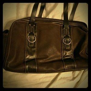 Gently Used Brown & Black Pleather Buckle Bag